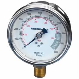 Enerpac® GP-10S GP Series Hydraulic Force And Pressure Gauge, 0 To 10000 Psi, 1/2 in FNPT Bottom Connection, 4 in Dial, +/- 1% Full Scale