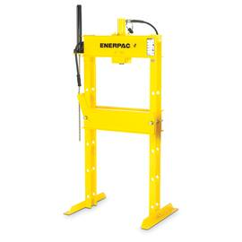 Enerpac® Hydraulic Press, Single Action, Series: IP Series, 25 ton, 54-1/2 in Base Length, 29 in Base Width, 76 in Height, Air Pump, 14 in Stroke, 10000 psi, H Frame, Air/Hydraulic Power Type, 5.2 to 30.9 in/s
