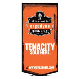 Ergodyne® Merchandising Banner, Vertical Small, TENACITY SOLD HERE Legend, 48 in Height, 24 in Width