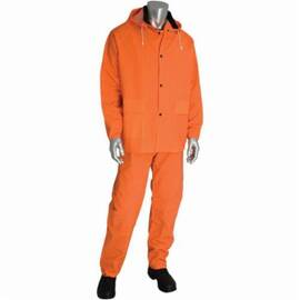 PIP® Falcon™ Rainsuit, 3-Piece Premium, Series: 201-360, M, Hi-Viz Orange, Polyester/Pvc, 52 In Chest, 47 In Waist, 29-1/2 In Inseam Length, 0.35 Mm Thickness, Snap Wrist And Open Ankle Closure