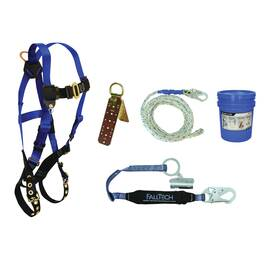 FallTech® 8595A Universal Fit Roofers Kit 5 Point Harness 50 Ft Lifeline In Bucket