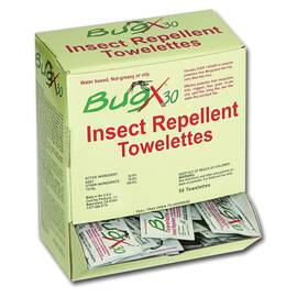 First Aid Only® BugX®30 Insect Repellent Wipe, DEET, 8 x 5 in, Composition: Water, N,N-Diethyl-m-toluamide (DEET), Ethanol, Liquid, White, 1 Specific Gravity, >201 deg F Flash, 5 to 7.5 pH