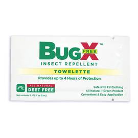 First Aid Only® BugX® Insect Repellent Wipe, DEET Free, 0.172 oz, Composition: Geraniol, Soybean Oil, Mint Oil, Rosemary Oil, Geranium Oil, Emulsion, Off-White/Cream, Rose Like, 0.975 to 0.985 Specific Gravity