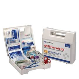 FIRST AID ONLY® 90589 PORTABLE FIRST AID KIT WITH DIVIDERS, WALL MOUNTING, 141 COMPONENTS, PLASTIC CASE