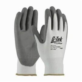 PIP® G-Tek® 16-D622 Cut-Resistant Glove, Polyurethane Palm, ANSI/ISEA Cut Level: A2, Abrasion/Chemical/Cut/Puncture/Tear/UV/Water Resistant, Polykor™ Lining, 8-1/2 in Length, Gray/White