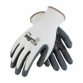 PIP® G-Tek® 34-225 NPG Palm and Fingers Coated Glove, Solid Dipped, Nylon, Abrasion/Cut/Puncture/Tear Resistant, 9.8 in Length, White/Gray