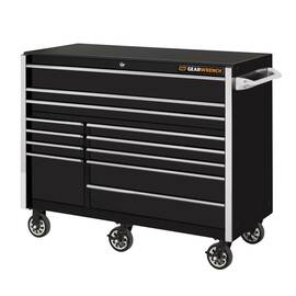 GearWrench® Drawer Roller Cabinet, Series: Extreme Tools®, 55 in Width, 21 Drawers, 6 Casters, 6 x 2 in Caster, High Gloss Powder Coated, Black with Chrome Handle