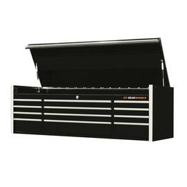 GearWrench® Top Chest Cabinet, Series: Extreme Tools®, 72 in Width, 22-1/4 in Height, 12 Drawers, High Gloss Powder Coated, Black with Chrome Handle