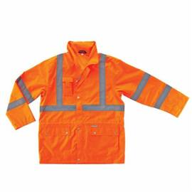 GLOWEAR® 24312 8365 RAIN JACKET, MEN'S, S, ORANGE, POLYESTER, RESISTS: WATER, SPECIFICATIONS MET: ANSI 107 TYPE R CLASS 3