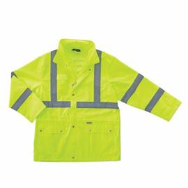 GLOWEAR® 24322 8365 RAIN JACKET, MEN'S, S, LIME, POLYESTER, RESISTS: WATER, SPECIFICATIONS MET: ANSI 107 TYPE R CLASS 3