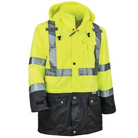 GLOWEAR® 25326 8365BK RAIN JACKET, 2XL, HI-VIZ LIME/BLACK, 300D OXFORD POLYESTER, RESISTS: WATER, SPECIFICATIONS MET: ANSI 107 TYPE R CLASS 3, INSET HOOD