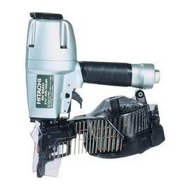 HITACHI Coil Siding Nailer Kit, Piston Reciprocating Action, 1-1/2 to 2-1/2 in Fastener, Sheet and Wire Weld Collation, 16 deg Collation, 200 to 300 Magazine, Top Loading, Elastomer Layered Trigger, Workpiece Contact Tip, 70 to 120 psi Air, 3/8 in NPT Air