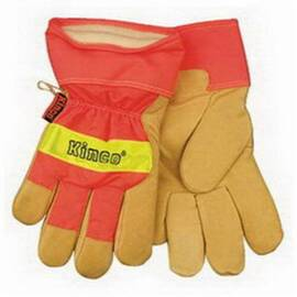 Heatkeep® 1938 Leather Palm Glove, High Visibility, Water Resistant, Thermal, Hi-Viz Tan/Orange