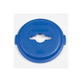 HILMOR® 1788380 BRUTE® ALL PURPOSE ROUND SINGLE STREAM RECYCLING TOP, HDPE, BLUE, 22.9 IN L X 9.8 IN W