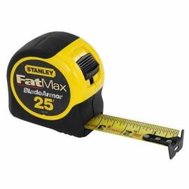 Stanley® Fatmax® 33-725 Measuring Tape, 1-1/4 In W X 25 Ft L Blade, Steel, Sae, 1/16 In/Ft
