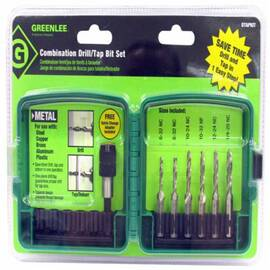 Greenlee® Dtapkit Drill Tap Kit, 6 Pieces, #6-32 To 1/4-20 Tap Thread