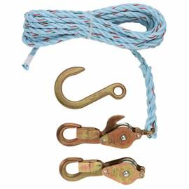Klein® 1802-30S Block And Tackle With Standard Hooks, 750 Lb Lifting, 3/8 In Dia X 25 Ft L