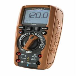 Southwire® Residentialpro™ 63018401 Auto-Ranging Digital Multimeter, 6 To 1000 Vac/600 Mv To 1000 Vdc/600 Ua To 10 A/600 Ohm To 60 Mohm/60 Nf To 6000 Uf/9.999 Hz To 9.999 Khz, 1000 Vac/Vdc, 10 A, 60 Mohm, 6000 Count Backlit Lcd Display