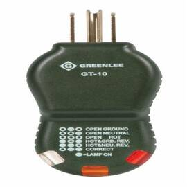 Greenlee® Gt-10 Gfi Polarity Cube Circuit Tester, 120 Vac, Mains, 6.4 In L X 3-1/2 In W