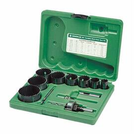 Greenlee® 891 Electricians/Plumbers Hole Saw Kit, 12 Pieces, For Use With 3/4 To 2-1/2 In Conduit, Bi-Metal