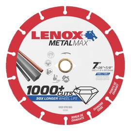 Lenox® METALMAX™ Cut-Off Wheel, 7 in Wheel Diameter, 0.06 in Wheel Thickness, 7/8 in Center Hole, 40/50 Grit, Diamond Abrasive, 8400 rpm Maximum, Applicable Materials: Steel, Sheet Metal, Stainless Steel, Rebar, Cast Iron, Aluminum and Non-Ferrous Meta