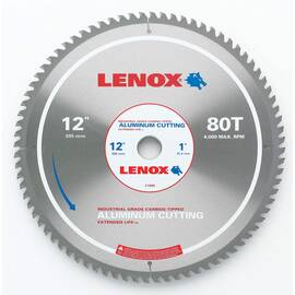 Lenox® Circular Saw Blade, 12 in Dia, 80 Teeth, Aluminum Blade, Applicable Materials: Aluminum, Copper and Brass