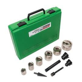 Greenlee® SPEED PUNCH® Knockout Punch Set, 10 ga, 18 Piece, For Use With: Manual and Battery Powered Hydraulic Knockout Driver, 1/2 to 2 in, Carbon Steel, Black Oxide/Nickel Plated