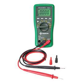 Greenlee® Digital Multimeter, Auto/Manual Ranging, 600 VAC/VDC, 10 A, 400 to 40 MOhm Measuring, 400 Ohm, 4/40/400 kOhm, 4/40 MOhm Resistance, Safety Rating: CAT III 600 VAC, 40/400 nF, 4/40/200 uF Capacitance, Digital Display, Yes Diode Test