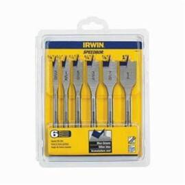 Irwin® Speedbor® 88886 Standard Length Spade Bit Set, Imperial, 3/8 In Min Drill Bit, 1 In Max Drill Bit, 6 Pieces, Stainless Steel
