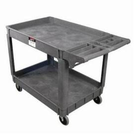 JET® Utility Cart, Series: PUC, 46 in Overall Length, 25-5/8 in Overall Width, 33-1/2 in Overall Height, 550 lb, Plastic Resin, 19-1/2 in Distance Between Shelves, 37-3/8 in L x 25-5/8 in W x 4.33 in H Shelf, Non-Marking Rubber Caster