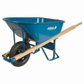 Jackson® M6Ffbb Heavy Duty Contractor Wheelbarrow With Flat Free Tire, 6 Cu-Ft, 1 Wheels, Flat Free Tire With Ball Bearing, Steel Tray, Wood Handle