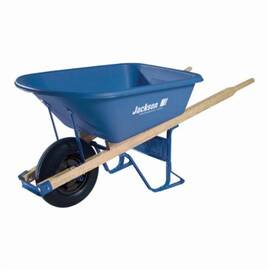 Jackson® Contractor Wheelbarrow, Heavy Duty, 6 cu-ft, Polyethylene Tray, Wood Handle, 60 in L Handle, 1 Wheels, Flat Free Knobby Tire with Ball Bearing Wheel, 16 in Wheel Dia
