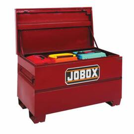 Jobox® Jobsite Chest Box, Heavy Duty High Capacity, 48 in Width, 30 in Depth, 33.38 in Height, 24.3 cu-ft Capacity, Recessed Folding Handle, Steel, Textured Powder Coated Finish, Brown