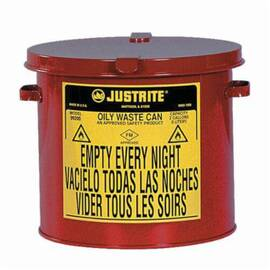 Justrite® 09200 Countertop Oily Waste Can, 2 Gal, 9-5/8 In Dia X 9-1/8 In H, Galvanized Steel, Red