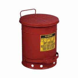 Justrite® 09300 Foot Operated Oily Waste Can, 10 Gal, 13-15/16 In Dia X 18-1/4 In H, Galvanized Steel, Red