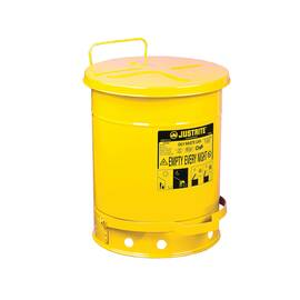 Justrite® 09301 Standard Foot Operated Oily Waste Can With Self-Closing Cover, 10 Gal, 13.938 In Dia X 18-1/4 In H, Steel, Yellow