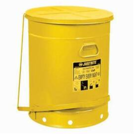 Justrite® 09700 Foot Operated Oily Waste Can, 21 Gal, 18-3/8 In Dia X 23-7/16 In H, Galvanized Steel, Red