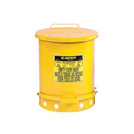 Justrite® 09701 Standard Foot Operated Oily Waste Can With Self-Closing Cover, 21 Gal, 18-3/8 In Dia X 23.438 In H, Steel, Yellow