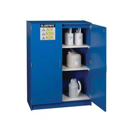 JUSTRITE® 24150 STAND ALONE CORROSIVE SAFETY CABINET, (49) 2.5 L BOTTLE CAPACITY, 60 IN H X 42 IN W X 17-7/8 IN D, MANUAL CLOSE DOOR, 2 DOORS, 1 SHELVES, WOOD LAMINATE, BLUE