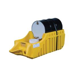 JUSTRITE® 28664 ECOPOLYBLEND™ SPILL CONTAINMENT CADDY, 1 DRUMS, 1250 LB LOAD, 66 GAL SPILL, NON-RECYCLED POLYETHYLENE, YELLOW