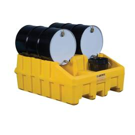 JUSTRITE® 28666 ECOPOLYBLEND™ DRUM MANAGEMENT BASE MODULE, 2 DRUMS, 3060 LB LOAD, 66 GAL SPILL, POLYETHYLENE, YELLOW