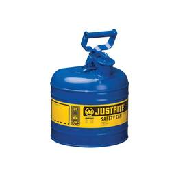 JUSTRITE® 7120300 TYPE I SAFETY CAN WITH SWINGING HANDLE AND STAINLESS STEEL FLAME ARRESTER, 2 GAL, 9-1/2 IN DIA X 13-3/4 IN H, STEEL, BLUE