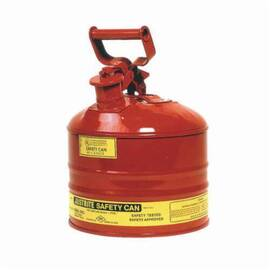 Justrite® 7125100 Type I Safety Can With Full Fisted Grip Handle, 2.5 Gal, 11-3/4 In Dia X 11-1/2 In H, Galvanized Steel, Red