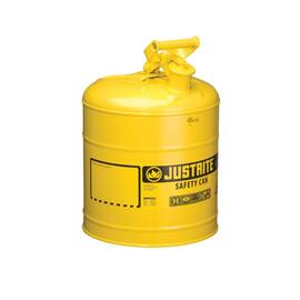 Justrite® 7150200 Type I Safety Can With Swinging Handle And Stainless Steel Flame Arrester, 5 Gal, 11-3/4 In Dia X 16-7/8 In H, Steel, Yellow