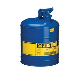 Justrite® 7150300 Type I Safety Can With Swinging Handle And Stainless Steel Flame Arrester, 5 Gal, 11-3/4 In Dia X 16-7/8 In H, Steel, Blue