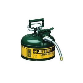 JUSTRITE® ACCUFLOW™ 7210420 TYPE II SAFETY CAN WITH 5/8 IN OD X 9 IN L METAL HOSE AND STAINLESS STEEL FLAME ARRESTER, 1 GAL, 9-1/2 IN DIA X 10-1/2 IN H, STEEL, GREEN