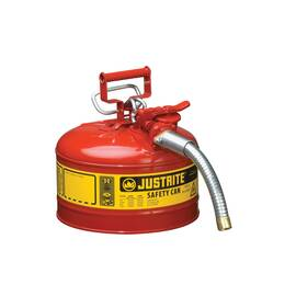 Justrite® Accuflow™ 7225130 Type II Safety Can With 1 In Od X 9 In L Metal Hose And Stainless Steel Flame Arrester, 2.5 Gal, 11-3/4 In Dia X 12 In H, Steel, Red