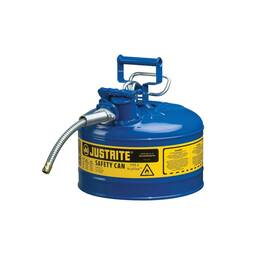 JUSTRITE® ACCUFLOW™ 7225320 TYPE II SAFETY CAN WITH 5/8 IN OD X 9 IN L METAL HOSE AND STAINLESS STEEL FLAME ARRESTER, 2.5 GAL, 11-3/4 IN DIA X 12 IN H, STEEL, BLUE