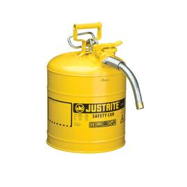 Justrite® Accuflow™ 7250230 Type II Safety Can With 1 In Od X 9 In L Metal Hose And Stainless Steel Flame Arrester, 5 Gal, 11-3/4 In Dia X 17-1/2 In H, Steel, Yellow