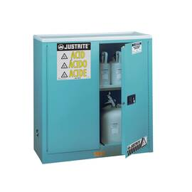 JUSTRITE® 893002 SURE-GRIP® EX CLASSIC CORROSIVE SAFETY CABINET, 30 GAL CAPACITY, 44 IN H X 43 IN W X 18 IN D, MANUAL CLOSE DOOR, 2 DOORS, 1 SHELVES, 18 GA COLD ROLLED STEEL, BLUE